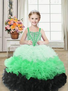 Trendy Straps Sleeveless Pageant Gowns For Girls Floor Length Beading and Ruffles Multi-color Organza