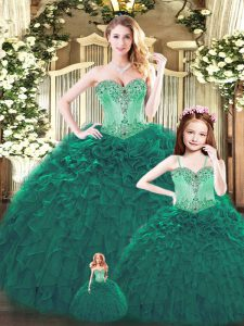 Dark Green Sleeveless Tulle Lace Up Sweet 16 Dress for Military Ball and Sweet 16 and Quinceanera