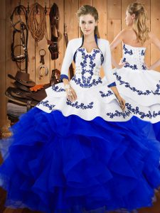 Blue Strapless Neckline Embroidery and Ruffles Vestidos de Quinceanera Sleeveless Lace Up