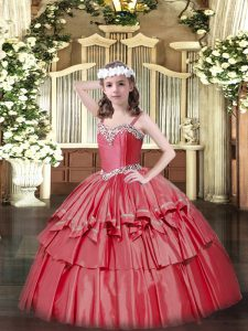 Organza and Taffeta Sleeveless Floor Length Kids Pageant Dress and Beading and Ruffled Layers