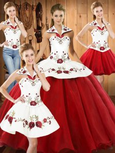 Deluxe White And Red Organza Lace Up Quinceanera Dress Sleeveless Floor Length Embroidery