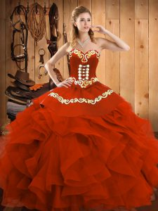 Rust Red Sweetheart Neckline Embroidery and Ruffles Quinceanera Dress Sleeveless Lace Up