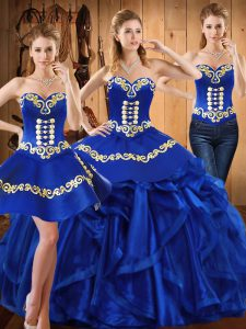 Pretty Sweetheart Sleeveless Lace Up Sweet 16 Quinceanera Dress Royal Blue Organza