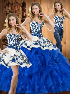 Dramatic Satin and Organza Sweetheart Sleeveless Lace Up Embroidery and Ruffles Quinceanera Dress in Blue