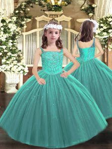 High End Beading Child Pageant Dress Teal Lace Up Sleeveless Floor Length