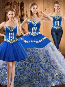 Multi-color Sweetheart Neckline Embroidery Sweet 16 Dresses Sleeveless Lace Up