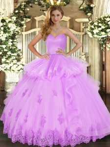 Deluxe Beading and Appliques and Ruffles Vestidos de Quinceanera Lilac Lace Up Sleeveless Floor Length