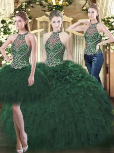 Glorious Sleeveless Organza Floor Length Lace Up 15th Birthday Dress in Dark Green with Beading and Ruffles