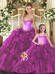 Most Popular Floor Length Ball Gowns Sleeveless Fuchsia Quinceanera Dress Lace Up