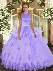 Clearance Lavender Sleeveless Tulle Backless Quince Ball Gowns for Military Ball and Sweet 16 and Quinceanera
