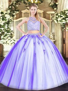 Pretty Lavender 15 Quinceanera Dress Military Ball and Sweet 16 and Quinceanera with Beading Scoop Sleeveless Zipper