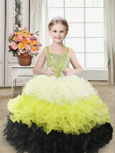 Enchanting Straps Sleeveless Little Girls Pageant Gowns Floor Length Beading and Ruffles Multi-color Organza
