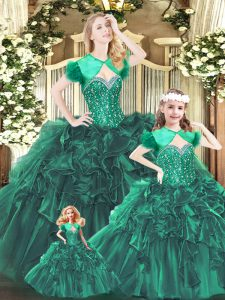 Organza Sweetheart Sleeveless Lace Up Beading and Ruffles Quince Ball Gowns in Green
