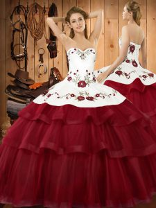 Organza Sleeveless Quinceanera Dress Sweep Train and Embroidery and Ruffled Layers