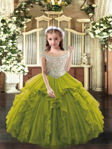 Beading and Ruffles Pageant Gowns For Girls Olive Green Lace Up Sleeveless Floor Length