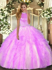 Glamorous Sleeveless Backless Floor Length Beading and Ruffles 15 Quinceanera Dress