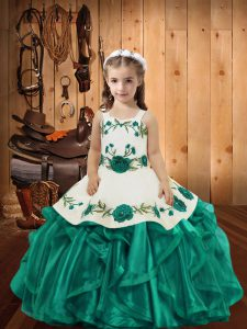 Embroidery and Ruffles Little Girls Pageant Gowns Teal Lace Up Sleeveless Floor Length