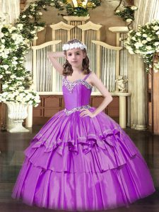 High Class Sleeveless Floor Length Beading and Ruffled Layers Lace Up Pageant Gowns For Girls with Lilac