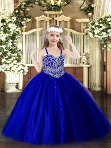 Straps Sleeveless Girls Pageant Dresses Floor Length Beading Royal Blue Tulle