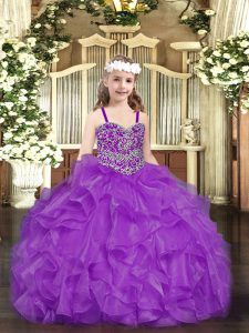 Simple Beading and Ruffles Little Girls Pageant Dress Wholesale Purple Lace Up Sleeveless Floor Length