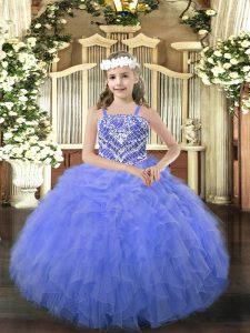Blue Organza Lace Up Straps Sleeveless Floor Length Evening Gowns Beading and Ruffles