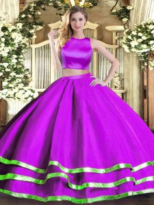 High-neck Sleeveless Criss Cross Quinceanera Gowns Purple Tulle