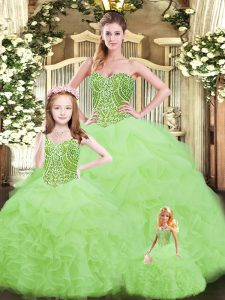 Gorgeous Floor Length Lace Up Quinceanera Dresses Yellow Green for Military Ball and Sweet 16 and Quinceanera with Ruffles
