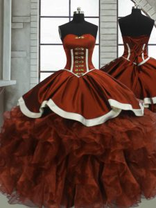 Stylish Sweetheart Sleeveless Lace Up 15 Quinceanera Dress Rust Red Organza