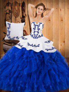 Trendy Blue And White Lace Up Strapless Embroidery and Ruffles Vestidos de Quinceanera Satin and Organza Sleeveless