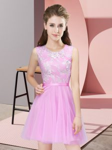 Pretty Scoop Sleeveless Quinceanera Dama Dress Mini Length Lace Rose Pink Tulle