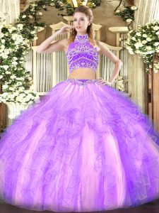 Lavender Two Pieces High-neck Sleeveless Tulle Floor Length Backless Beading and Ruffles Sweet 16 Dresses