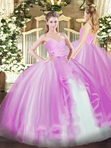 Sweetheart Sleeveless Lace Up Vestidos de Quinceanera Lilac Tulle