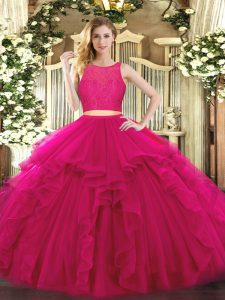 Sophisticated Tulle Scoop Sleeveless Zipper Ruffles Quinceanera Gown in Fuchsia
