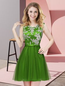 Comfortable Lace Dama Dress Green Side Zipper Sleeveless Mini Length