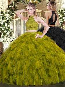 Chic Olive Green Sweet 16 Dress Military Ball and Sweet 16 and Quinceanera with Beading and Ruffles Halter Top Sleeveless Backless