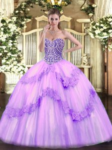 High Class Lavender Lace Up Ball Gown Prom Dress Beading and Appliques Sleeveless Floor Length