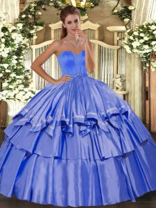 Blue Lace Up Quinceanera Gowns Beading and Ruffled Layers Sleeveless Floor Length