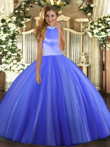 Ball Gowns Quinceanera Gowns Blue Halter Top Tulle Sleeveless Floor Length Backless