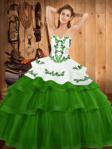 High End Sweep Train Ball Gowns 15th Birthday Dress Green Strapless Tulle Sleeveless Lace Up