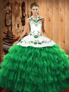 Exceptional Green Long Sleeves Satin and Organza Lace Up Vestidos de Quinceanera for Military Ball and Sweet 16 and Quinceanera