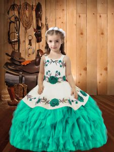 Aqua Blue Sleeveless Organza Lace Up Little Girls Pageant Gowns for Sweet 16 and Quinceanera