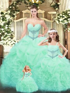 Custom Fit Floor Length Apple Green Quinceanera Dress Tulle Sleeveless Beading and Ruffles