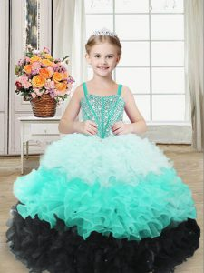 Dazzling Multi-color Sleeveless Organza Lace Up Pageant Gowns For Girls for Sweet 16 and Quinceanera
