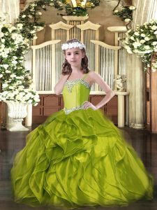 Latest Straps Sleeveless Lace Up Girls Pageant Dresses Olive Green Organza