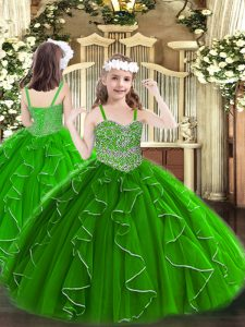 Floor Length Green Pageant Dress Womens Organza Sleeveless Beading and Ruffles