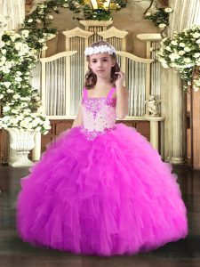 Charming Fuchsia Tulle Lace Up Straps Sleeveless Floor Length Kids Formal Wear Beading and Ruffles