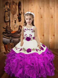 Charming Fuchsia Organza Lace Up Straps Sleeveless Floor Length Kids Formal Wear Embroidery and Ruffles and Hand Made Flower