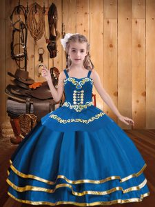 Beautiful Blue Organza Lace Up Girls Pageant Dresses Sleeveless Floor Length Embroidery and Ruffled Layers