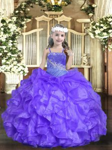 Lavender Ball Gowns Beading and Ruffles Little Girls Pageant Dress Lace Up Organza Sleeveless Floor Length