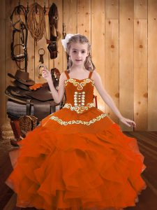 Orange Red Ball Gowns Organza Straps Sleeveless Embroidery and Ruffles Floor Length Lace Up Kids Formal Wear